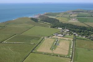 Aerial view of Stoke Barton Caravan & Camping site, Hartland, North Devon