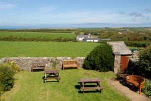 Elmscott Youth Hostel garden with views to Lundy Island