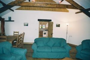 The Granary roundhouse sitting room, Hartland, North Devon