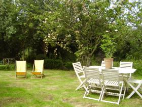 The lovely, large, private garden for Welcombe Coastal Barn - self-catering