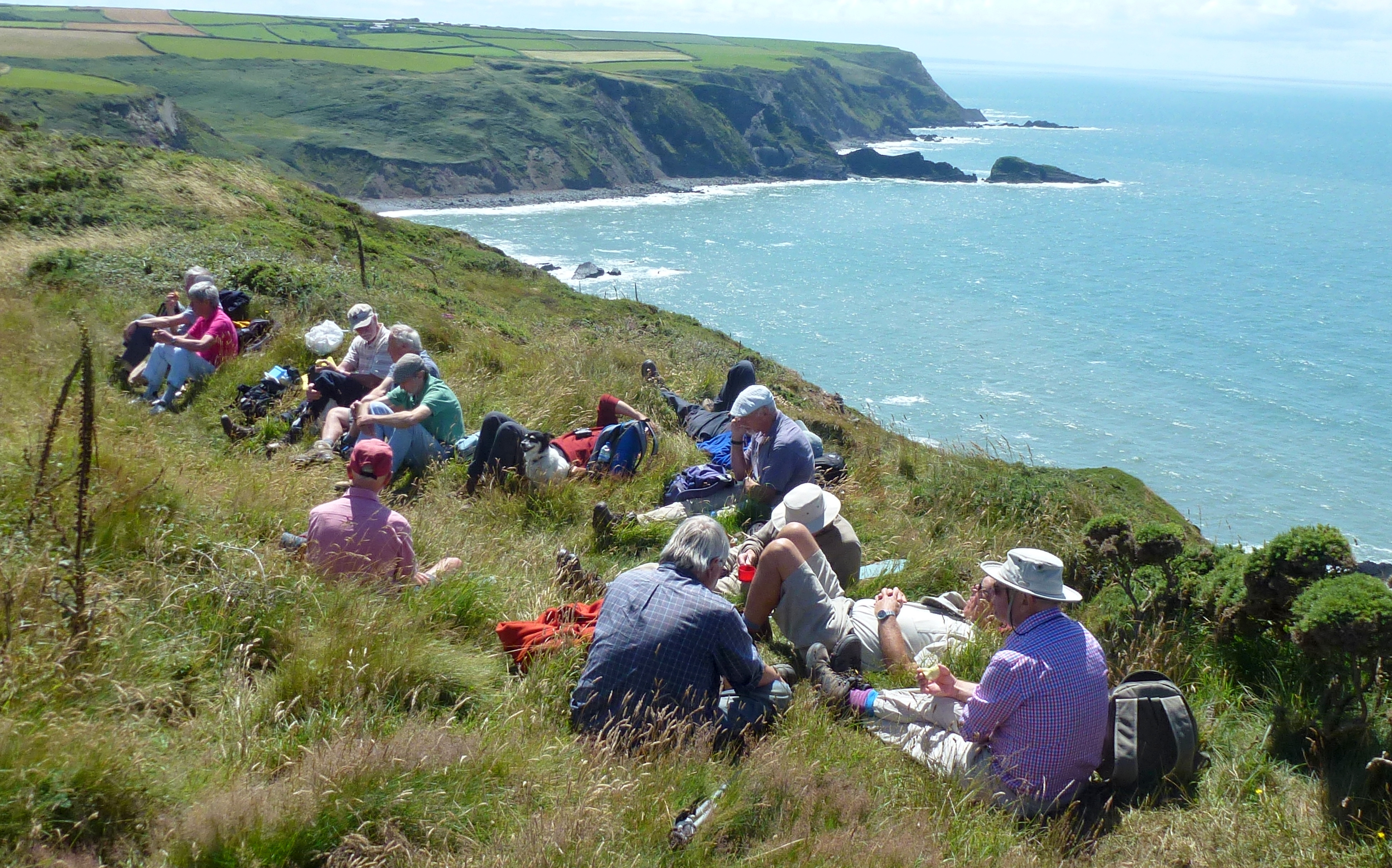 Walkers enjoying a packed lunch provided by The Point@Hartland Point cafe