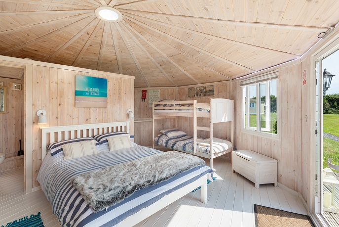 Bedroom with Bunk beds, coastal cabins, Hartland