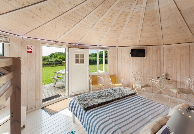 Bedroom to garden, Coastal Cabins, Hartland