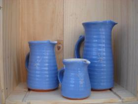 Blue jugs from Sarah Jane Lander, the Potter at The No. 39 Pottery, Fore St