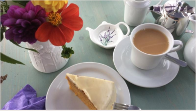 Cake in the tearooms at Cheristow Lavender, Hartland, North Devon. Exceptional t