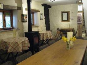 The tea room and wood burner at Docton Mill Gardens & Tea room, Hartland, Devon