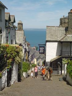 Clovelly's famous, traffic-free cobbled streets.