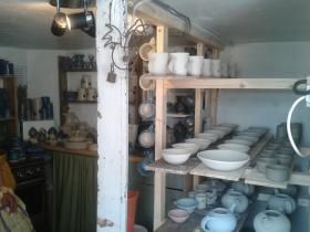 Stoneware at Sarah Jane Lander, the Potter at The No. 39 Pottery, Fore St,
