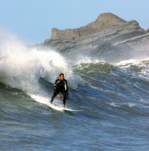 Surfing at Hartland Quay