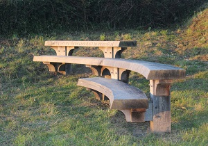 The Berry Bench, a memorial bench, in situ on Berry Cliffs, by James Morley
