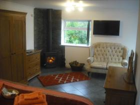Camellia Studio woodburner and couch, Clouds B&B, Stoke, Hartland, Devon