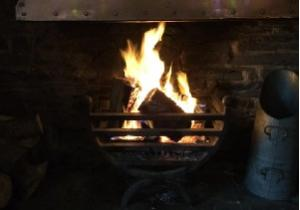 The Old Smith Inn real fire - at Welcombe, Hartland, North Devon