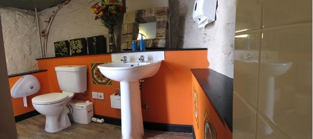 The bunkhouse washroom at the Old Smithy Inn Backpacker's Lodge at Welcombe, Hartland, North Devon