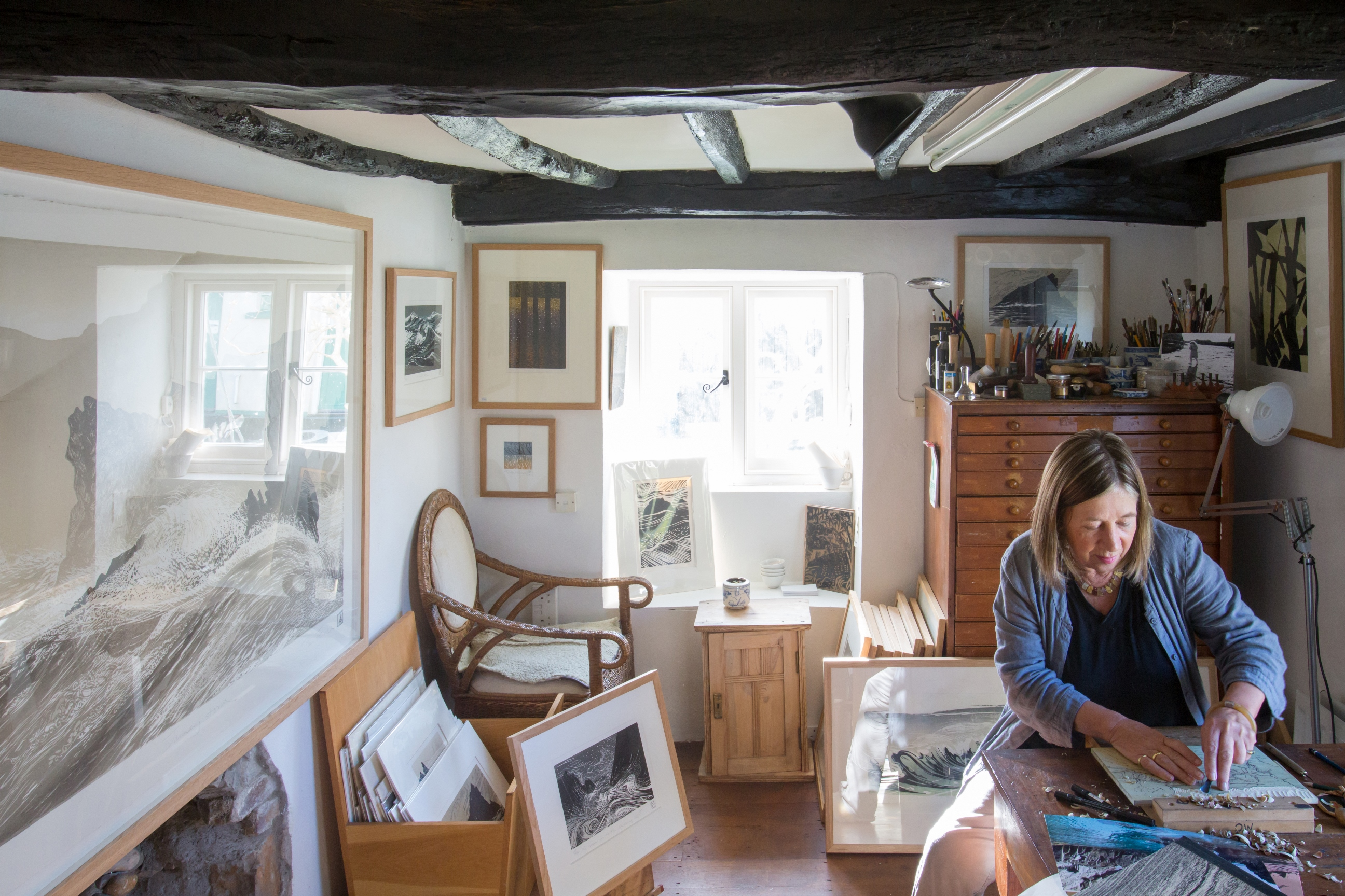 Merlyn Chesterman working in her studio at 2 Harton Manor B&B and studio at Hartland North Devon