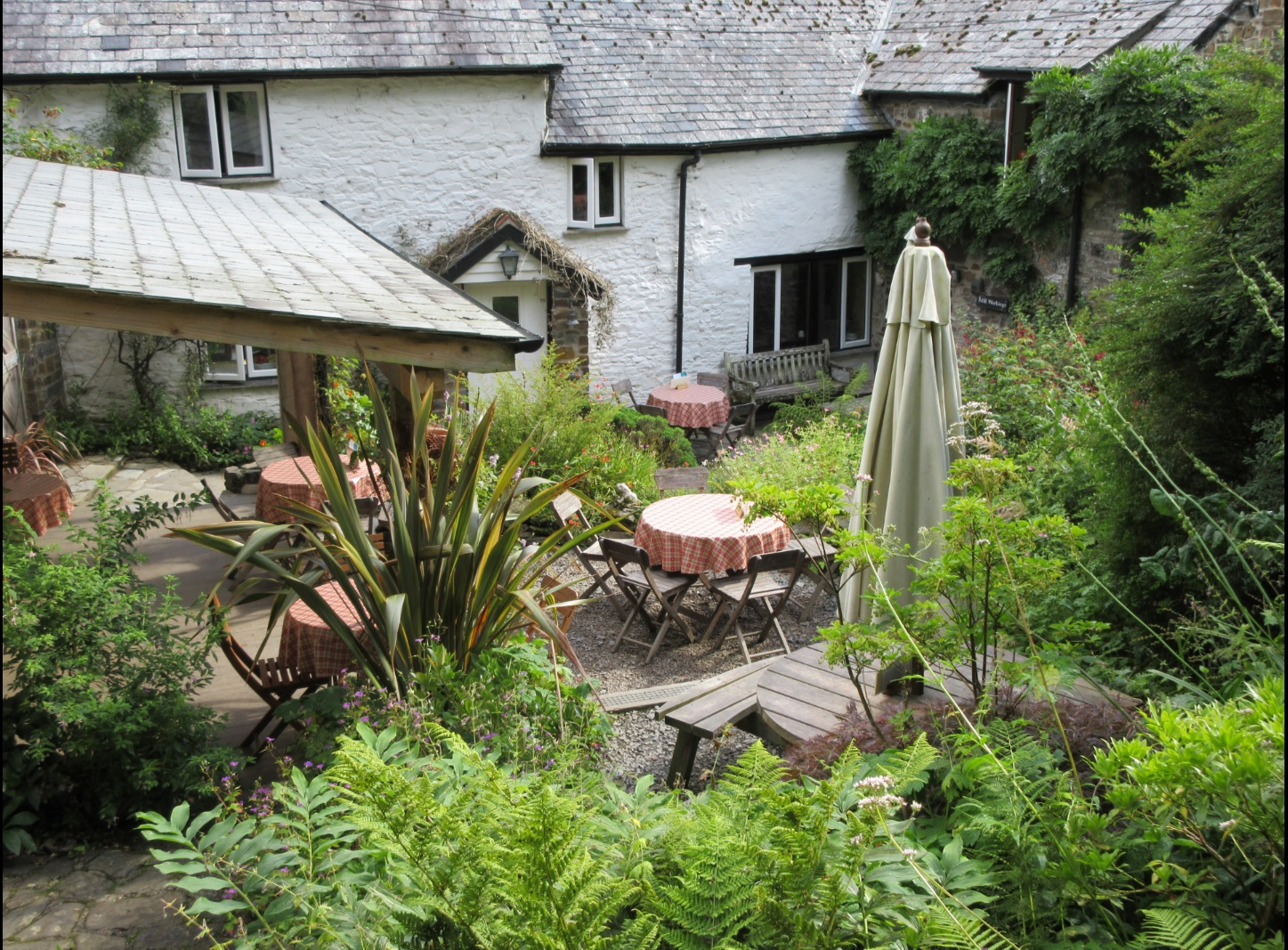 The tea terrace at Docton Mill Gardens and Tearoom, Hartland, North Devon