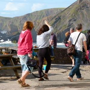 A summer evening at the Wrecker's Bar, Hartland Quay Hotel, Hartland, North Devon